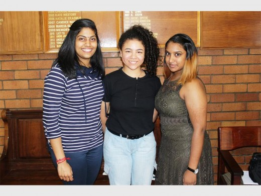 Alisha Moonsamy (left), Ranaa Cevikmen and Sameshni Naidoo are three of the top pupils from Springs Girls' High School. Alisha received six distinctions, while Ranaa and Sameshni each received five distinctions.