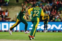 Imran Tahir celebrates a wicket. (Source: Cricket South Africa/@OfficialCSA)