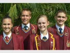 Hoërskool Jan Viljoen se duxleerlinge van links is Ashley Dayanand (Graad 9), Renier van Dyk (Graad 10), Charlotte Beukman (Graad 11) en Tiaan van Niekerk (Graad 8). Foto ingestuur.