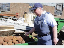 Captain Appel Ernst and spokesperson for the Randfontein Police examining some of the materials at a scrap yard.