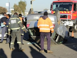 The VW Polo Vivo in which the man survived the collision was on its roof.