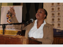 MMC Brenda Mahuma, speaker for Randfontein Local Municipality, urging the community to take part in the renaming of the new municipality.