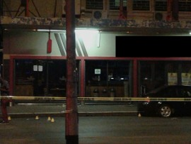A photo taken from behind the police tape cordoning off the restaurant. Photo submitted.