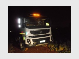 The Volvo truck that was involved in the hijacking.