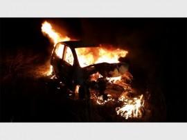 Die brandende voertuig.