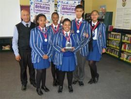 Jason Fisher (coach), Temaswati Dlamini, Thabang Khumalo, Boitumelo Ramathlape, Jesse Daniels and Nkanyezi Sikakane – the winning team. Photo submitted.