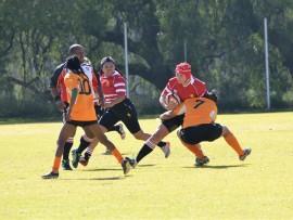 Maresa Oosthuizen, hier met die bal in haar hand, is 'n voormalige Randfonteiner wat tans vir die Goue Leeus- vrouespan speel. Foto: Lynn Language van LionsWorld