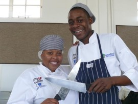 Kgontse Maswikaneng participant of the Top Chef Competition and Brian Mncube, winner of the Top Chef Competition are proud to be representing Westcol College.