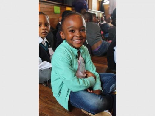 Kegomoditswe Phokompe, very excited about her new school.