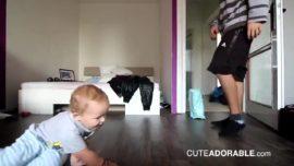 Adorable baby breakdance battle