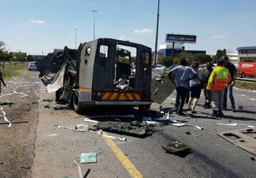 BREAKING: Watch truck blown up in cash-in-transit heist on R24 ...