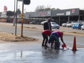 Pipe burst in Rhodesfield causes problems