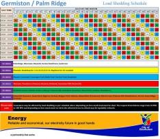 Load shedding schedule for Germiston/Palm Ridge areas.