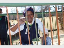 Catharina Kubeka from Smiley Kids Elspark shows off her painting skills. Photo by: Fanie Mthupha