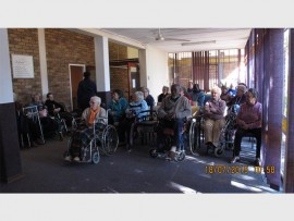 The residents of the Solheim Home for the Aged watch an interactive play performed by the Primrose Crime Prevention Youth Desk members.