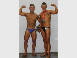 Unique Physique Gym's Logan Wessels (left) and Sheldon Thirion recently competed in the Boksburg Bodybuilding Competition, at the Kempton Park Civic Centre.