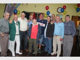 The members of the East Rand Veterans Boxing Association were excited about the association's 26 years of greatness. They include, back (from left); Billy Oliver, Charlemagne ''Charl'' Sam, Nigel Pera, Eddie Mileham, Giovanni ''Shosholozaman'' Pretorius, Shorne Moorcroft, Piet Crous, Willie Stols and Granville Gorton. Front: Desmond Blow.