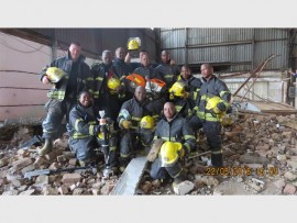 The Ekurhuleni Disaster and Emergency Management Services (DEMS) rescue team responsible for freeing three men trapped under heavy concrete slabs in Elandsfontein, on Sunday.