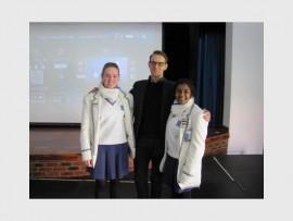 From left, are: Skye Sheerin (headgirl), Dr Patrick Flanery and Karmini Dorasamy (deputy headgirl).
