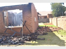 This house in Oak Avenue, Primrose, was destroyed by a fire, on Tuesday.