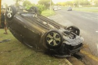 The rolled car in Nigel Road on Sunday evening.