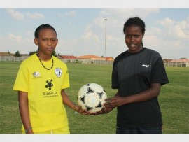 Phila Mahlangu and Mpumelelo Lekgau say they enjoy challenging boys on the pitch at the KwaThema Sports Complex.