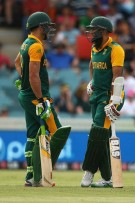 Faf du Plessis and Hashim Amla during their 247 partnership against Ireland. *Photo: Cricket South Africa Facebook page.