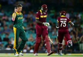 Dale Steyn celebrates after taking a wicket against the West Indies. *Photo: Cricket South Africa Facebook page