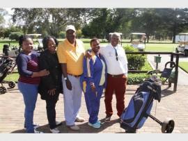Rose Nkosi (left) Ellen Mogale, Templeton Nkutha,Tebogo Langa and Richard Mogoerane at the uniform hand-over at the  Royal Oak Country Club on Sunday.