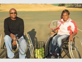 Isaac Mthombeni and Mbali Mavuso during a training session at the KwaThema Stadium, on Monday.