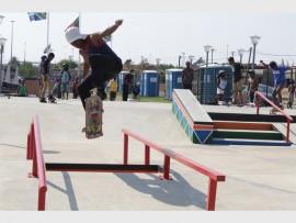 Nkanyezi Thabethe enjoying the skate park on Saturday.