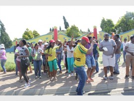 Employees picketing outside Carnival City.