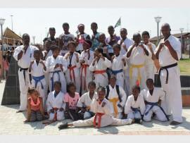 Karate instructor Linda Ngubane (left) with his students.