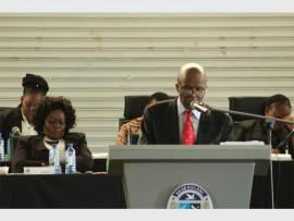 The City of Ekurhuleni Mayor, Clr Mondli Gungubele giving the State of the City address on Wednesday.
