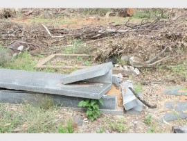 Damaged tombstones at the Jim Fouche Park Cemetery.