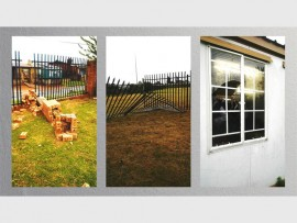 The damaged fencing and smashed windows at the Kenneth Masekela High School.