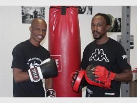 Trainers Bheki Madonsela (left) and Zakhele Nkosi are ready to get the community into boxercise.