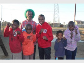 Coach Charles Mtshali with the five boxers who are going for grading. They are (from left): Sibusiso Tshabalala, Sipho Tshabalala, Nhlanhla Ndlela, Junior Constable and Lindokuhle Mathibela.