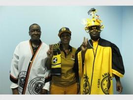 All dressed up, Rangwane Makgabutlane (left), Mabhayi Busisiwe Maseko and Teka Matsepane are ready for the Soweto derby on Saturday.
