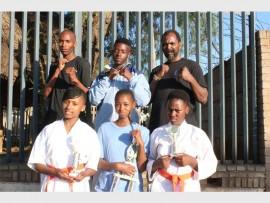 Members of the Tsakane Kyokushinkan Club (back from left) Thulani Nkambule, Mpho Mofokeng and sensei Linda Ngubane. In front: Mathapelo Sibeko, Ntokozo Ngubane and Mpho Mokoena.
