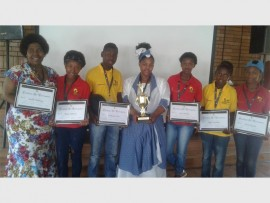 Teachers Phyllis Thipe (left) and Nonhlanhla Mtshali with five of the six best essay writers from their school: Fatima Mthimde, Snethemba Dube, Lebo Malotane and Mpho Mkulubele.