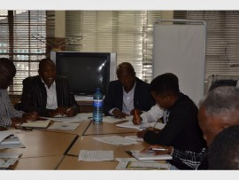 Ekurhuleni ANC Chief Whip Jongizizwe Dlabathi and Member of Parliament Mondli Gungubele, have a discussion with the management of Tlakula Secondary School.