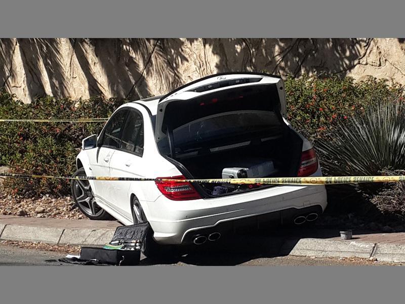 Hijackers Abandon Mercedes After Crashing It Into Pavement