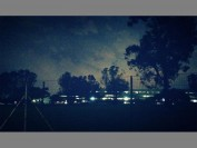 A picture taken by a northern Johannesburg resident shows Eskom's Megawatt Park offices lit while the surrounding area experiences load shedding.