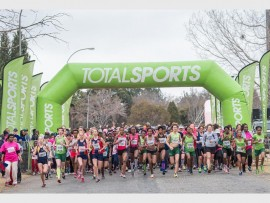 Photo: Volume Photography JUST KEEP RUNNING: Runners at the start of the 2014 Totalsports Women's Race in Johannesburg.