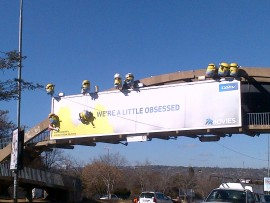 A photo taken on the morning of 31 July which shows only nine minions on the billboard.