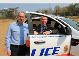 Patrol... Sandton Central Management District representative Scott Thorburn and Ward 103 Vincent Earp with the new Metro police patrol car.