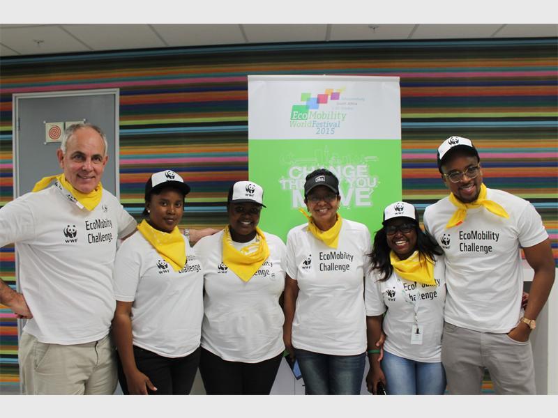 Winners... CEO of WWF, Morné du Plessis; Mokgadi Mutheketela; Mashudu Thangene, MMC of Roads and Transport for the City of Johannesburg; Christine Walters; Tebogo Mogashoa; and actor, Maps Maponyane.