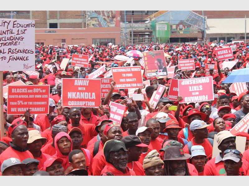 Economic Freedom Fighters members at Mary Fitzgerald Square.