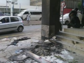 Some of the damage from the Pickitup strike, from a protest which took place last week.